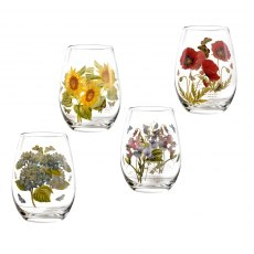 Botanic Garden Stemless Wine Glasses Set of 4 Assorted Motifs