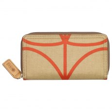 Orla Kiely Giant Linear Stem Big Zip Wallet - Stone