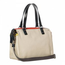 Orla Kiely Embossed Flower Zip Messenger Bag - Cream