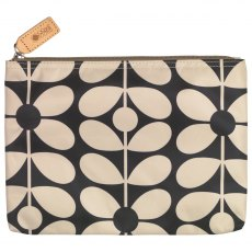 Orla Kiely Sixties Stem Large Pouch Bag - Charcoal Blue