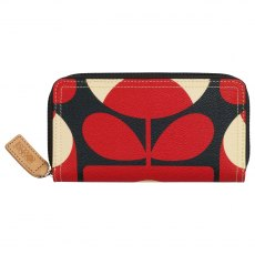Orla Kiely Spring Bloom Big Zip Wallet - Ruby