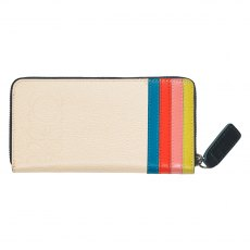 Orla Kiely Big Zip Leather Wallet - Cream