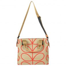 Orla Kiely Giant Linear Stem Small Zip Messenger Bag - Stone