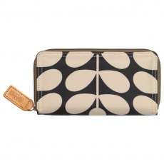 Orla Kiely Sixties Stem Big Zip Wallet - Charcoal Blue