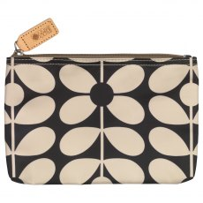 Orla Kiely Sixties Stem Medium Pouch Bag - Charcoal Blue