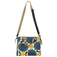 Orla Kiely Scallop Flower Spot Small Zip Messenger Denim