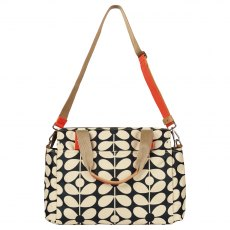 Orla Kiely Sixties Stem Zip Messenger Baby Bag - Charcoal Blue