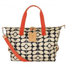 Orla Kiely Sixties Stem Medium Zip Holdall - Charcoal Blue