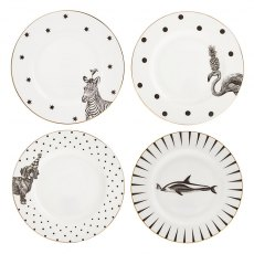 Yvonne Ellen Monochrome Animal Side Plates, Set of 4