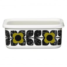 Orla Kiely Scribble Square Enamel Storage Container in Seagrass