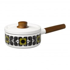 Orla Kiely Scribble Square Flower Enamel Saucepan in Seagrass