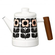 Orla Kiely Scribble Square Flower Enamel Teapot in Rose Tint