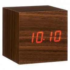 Gingko Cube Click Clock - Walnut with Red LED