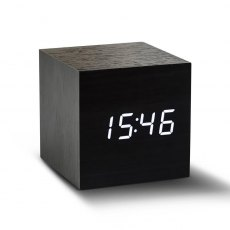 Gingko Cube Click Clock - Black with White LED