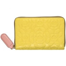 Orla Kiely Flower Stem Embossed Leather Medium Zip Wallet - Sunshine