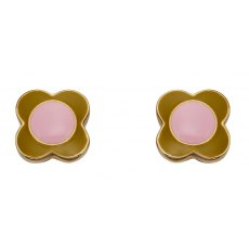 Orla Kiely Gold Plated Pink & Green Flower Earring