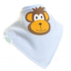 Ziggle Bandana Dribble Bib Monkey Light Blue
