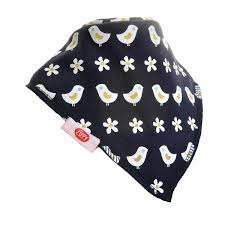 Ziggle Baby Bandana Dribble Bib Navy with Cute White Birds