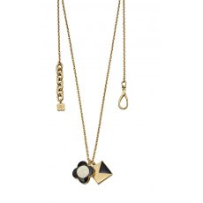 Orla Kiely Yellow Gold Two Charm Necklace