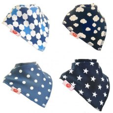 Ziggle Bandana Dribble Bib 4 pack Just Blues