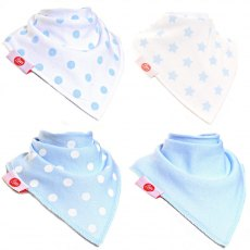 Ziggle Bandana Dribble Bib 4 pack Blue White