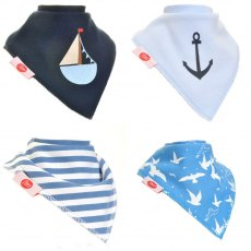 Ziggle Bandana Dribble Bib 4 pack Nautical