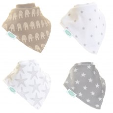 Ziggle Bandana Dribble Bib 4 Pack Grey White