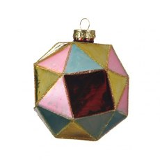 Diamond Cut Multi Coloured Glass Bauble Set of 3