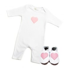 Pink Heart Babygrow & Shoes Giftset