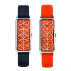 Orla Kiely Stem Pattern Interchangeable Navy & Tomato  Slim Leather Strap Watch