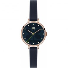 Orla Kiely Ivy Navy Leather Strap Watch