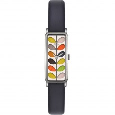 Orla Kiely Ladies Stem Print Black Leather Strap Watch