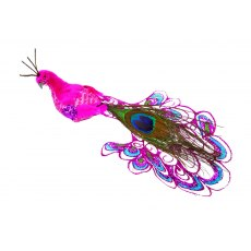 Pink Peacock Clip Decoration