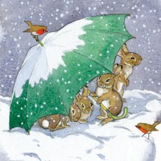 Sheltering Rabbits Christmas Cards