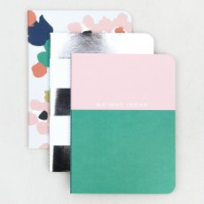 Caroline Gardner Green Dreamer Abstract Floral Notebooks Set of 3