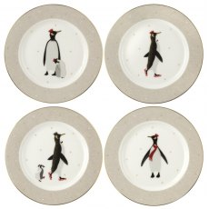 Sara Miller London Penguin Christmas Collection Cake Plates Set of 4