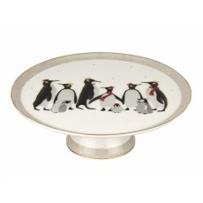 Sara Miller London Penguin Christmas Collection Footed Cake Plate
