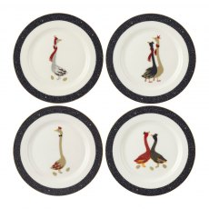 Sara Miller London Geese Christmas Collection Cake Plates set of 4