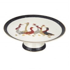 Sara Miller London Geese Christmas Collection Footed Cake Plate