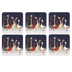 Sara Miller London Geese Christmas Collection Coasters Set of 6