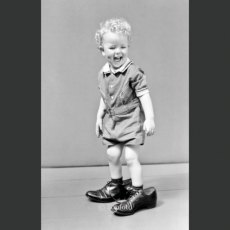 Walking in grown-up shoes, 1940's Greeting Card
