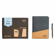 Gentleman's Hardware Travel Wallet Recycled Leather Black & Tan