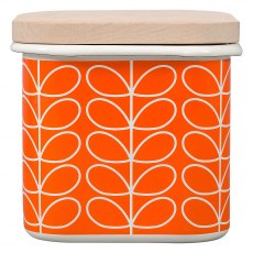 Orla Kiely Linear Stem Enamel Storage Jar - Persimmon