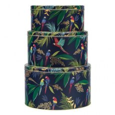 Sara Miller Tropical Parrot Set Of 3 Round Cake Tins