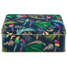 Sara Miller Tropical Parrots Deep Rectangular Tin