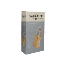 Sabatier 5pc Knife Set With Rubberwood Block