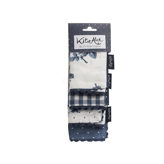 Katie Alice Vintage Indigo Set Of 4 Napkins