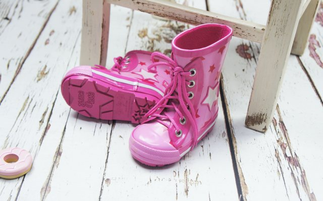 Blade & Rose Blade & Rose Pink Star Lace Up Wellington Boots