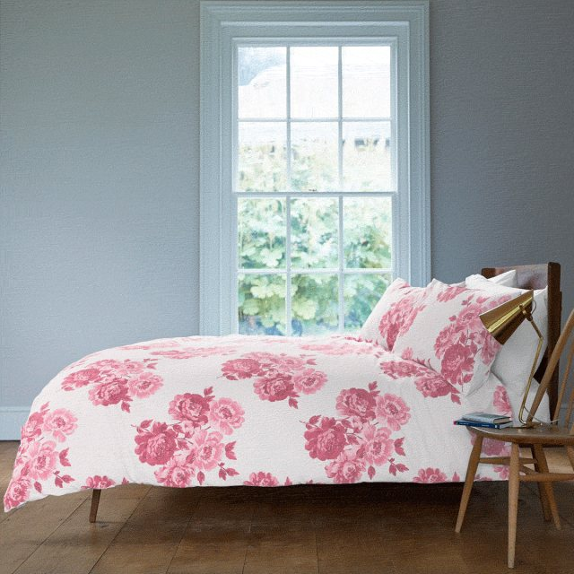 Cath Kidston Cath Kidston Pink Peony Blossom King Size Duvet Co