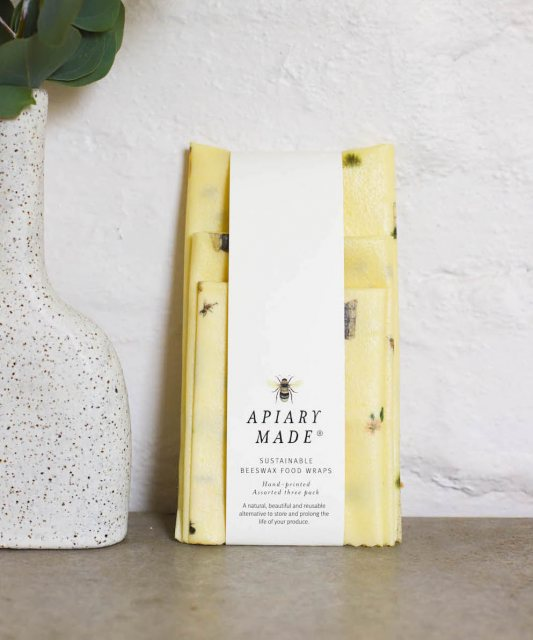 Apiary Made Illustrated set of Three Pack Beeswax Wraps